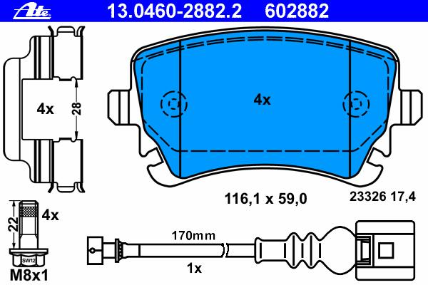 Колодки тормозные дисковые Ate 1304602882213046028822