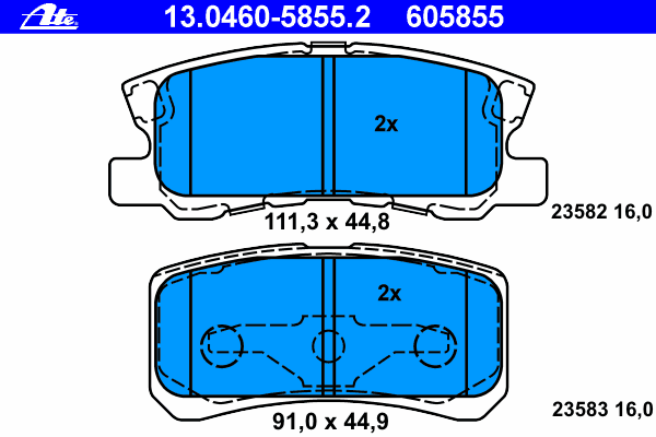 Колодки тормозные дисковые Ate 1304605855213046058552