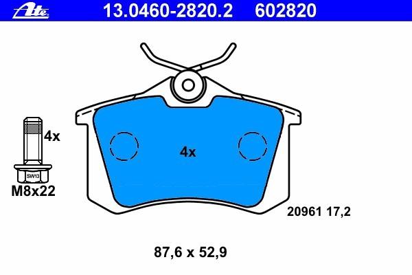 Колодки тормозные дисковые Ate 1304602820213046028202