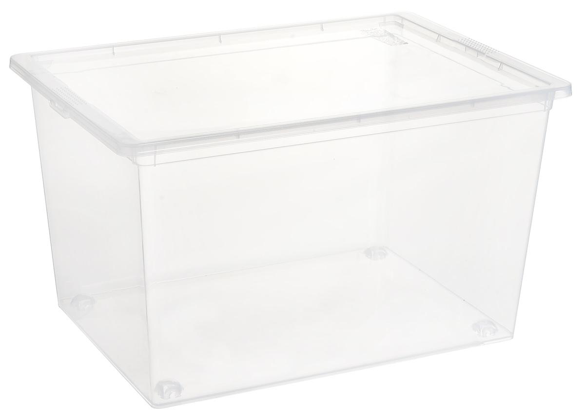 Ящик Idea, цвет: прозрачный, 50 л, 53 х 37 х 30 см цин вэй прозрачный ящик для обуви толстый ящик сочетание из пластиковых ящик для хранения женских моделей 6 загружен синий