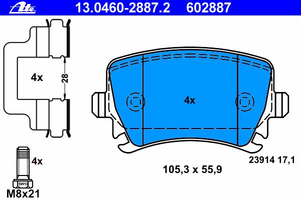 Колодки тормозные дисковые Ate 1304602887213046028872