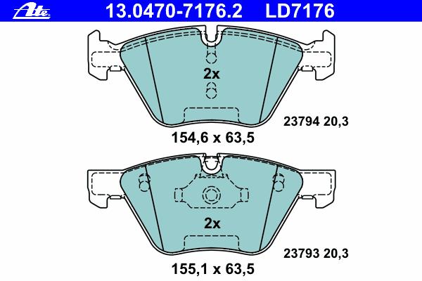 Колодки тормозные CERAMIC Ate 1304707176213047071762