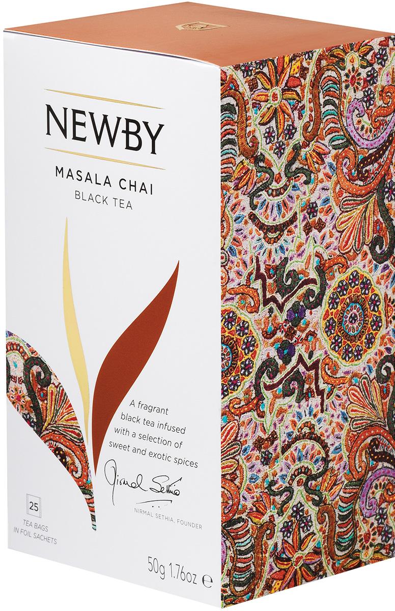 Newby Masala Chai черный чай со специями в пакетиках, 25 шт311450Черный листовой чай Newby Masala Chai - это особый купаж, в который входят листья черного чая и ароматные специи. У напитка насыщенный и богатый вкус, который имеет легкие солодовые нотки и пряное, слегка острое послевкусие. Newby Masala Chai прекрасно согревает организм, создавая ощущение, что тепло растекается внутри тела. Рекомендуется подавать этот чай с молоком, медом, лимоном или сахаром.Уважаемые клиенты! Обращаем ваше внимание на то, что упаковка может иметь несколько видов дизайна. Поставка осуществляется в зависимости от наличия на складе.