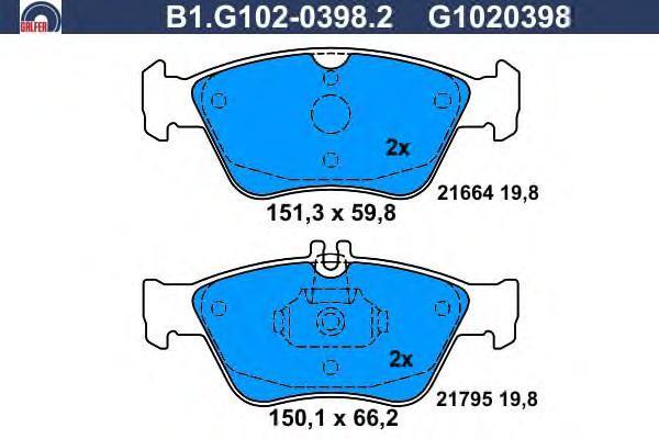Колодки тормозные дисковые Galfer B1G10203982B1G10203982