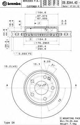 Диск тормозной Brembo 09B34441 комплект 2 шт09B34441