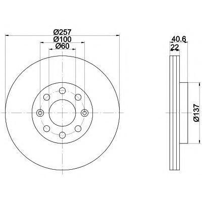 Диск тормозной Behr-Hella Pro, 2 шт. 8DD355112-5818DD355112-581