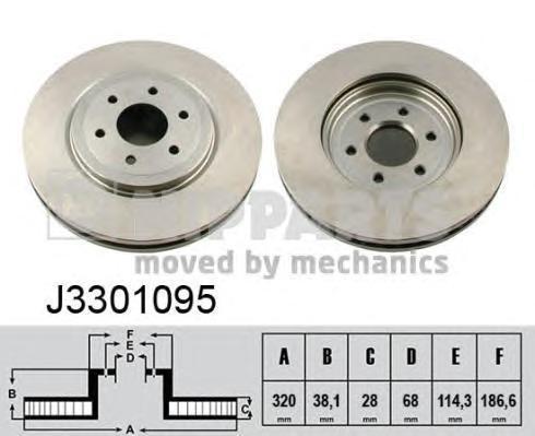Диск тормозной передний Nipparts J3301095 комплект 2 штJ3301095