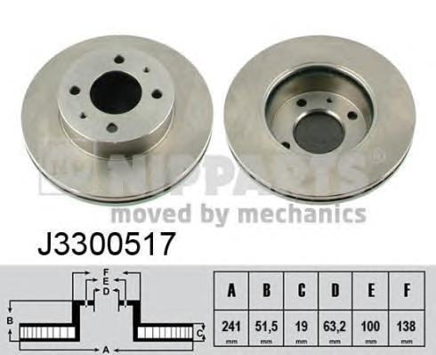 Диск тормозной передний Nipparts J3300517 комплект 2 штJ3300517
