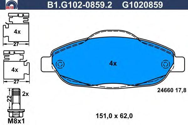 Колодки тормозные Galfer B1G10208592B1G10208592