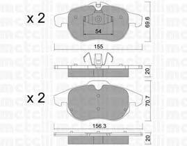 Колодки тормозные дисковые, комплект Metelli 22054042205404
