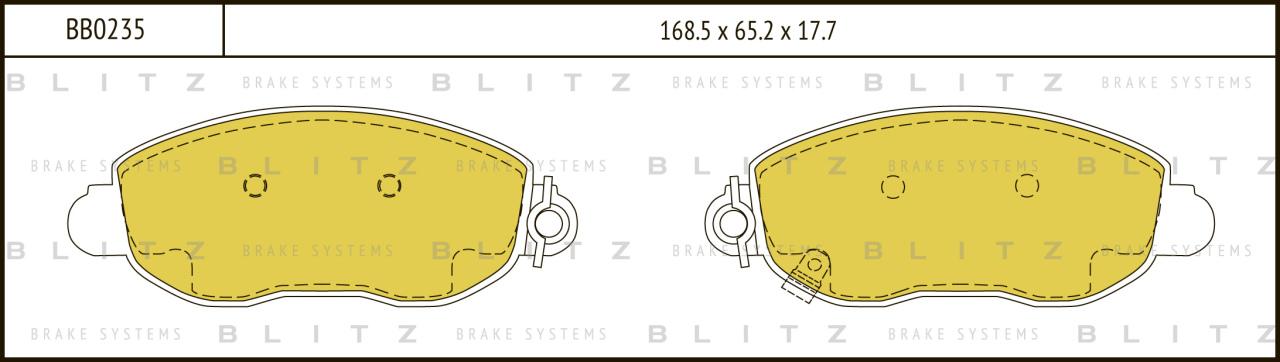 Колодки тормозные дисковые BLITZ автотовары BB0235BB0235