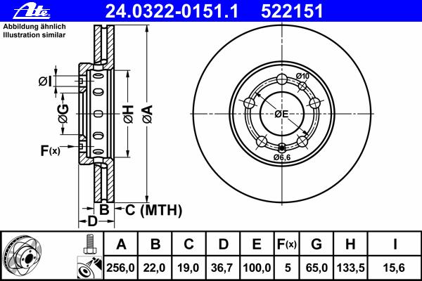 Диск тормозной Ate 24032201511 комплект 2 шт24032201511
