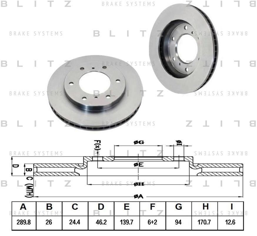 Диск тормозной BLITZ автотовары BS0169BS0169