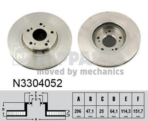 Диск тормозной передний Nipparts N3304052 комплект 2 штN3304052