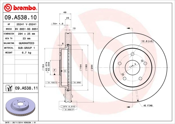 Диск тормозной передний Brembo 09A53810 комплект 2 шт09A53810