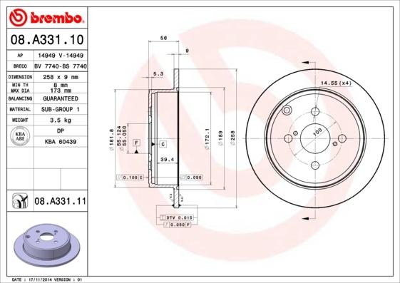 Диск тормозной задний Brembo 08A33110 комплект 2 шт08A33110