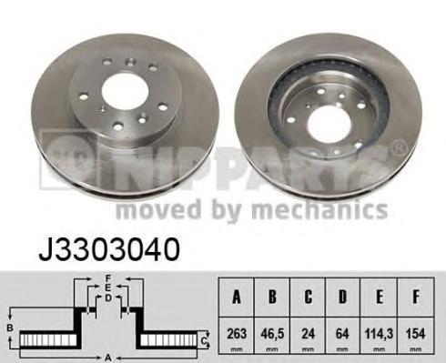 Диск тормозной передний вентилируемый Nipparts J3303040J3303040