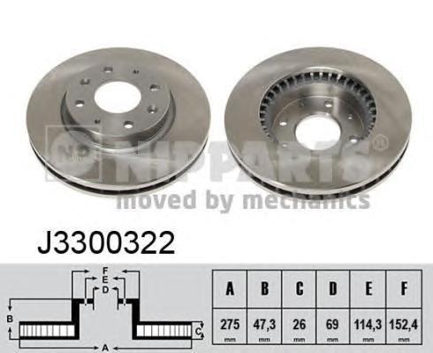 Диск тормозной передний вентилируемый Nipparts J3300322 комплект 2 штJ3300322