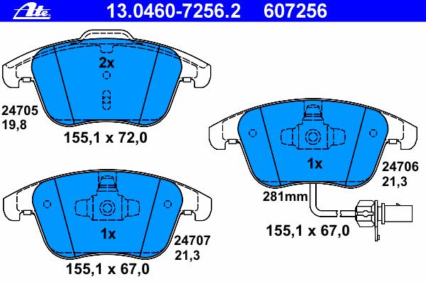 Колодки тормозные дисковые Ate 1304607256213046072562
