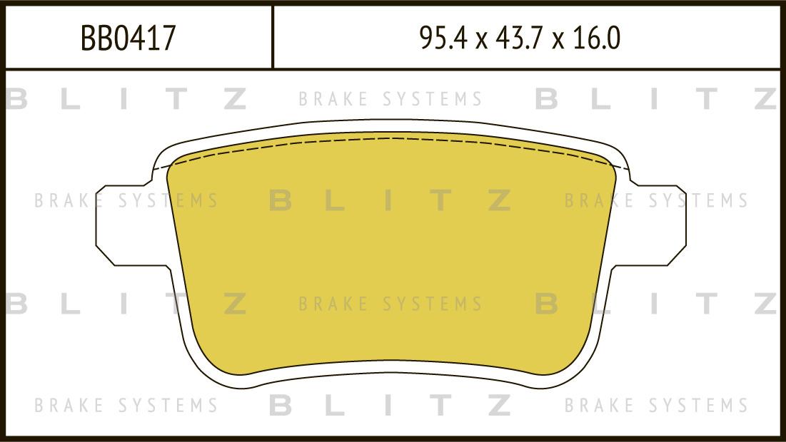 Колодки тормозные дисковые BLITZ автотовары BB0417BB0417