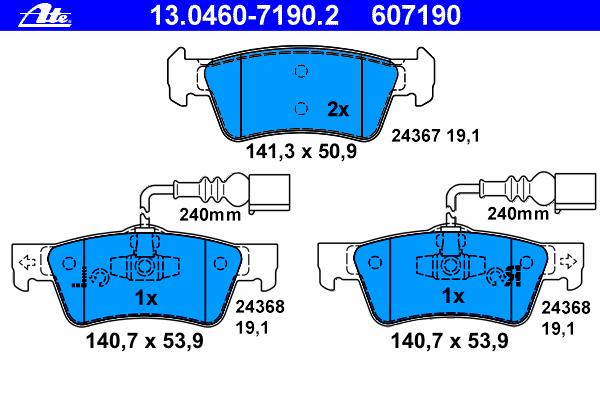 Колодки тормозные дисковые Ate 1304607190213046071902