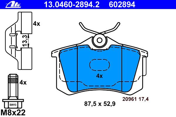 Колодки тормозные дисковые Ate 1304602894213046028942