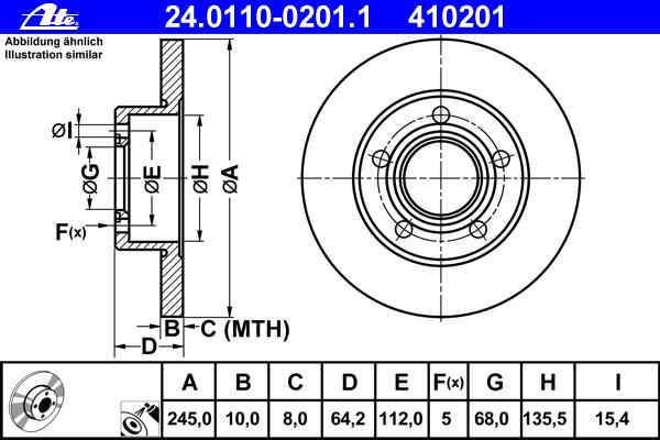 Диск тормозной Ate 24011002011 комплект 2 шт24011002011