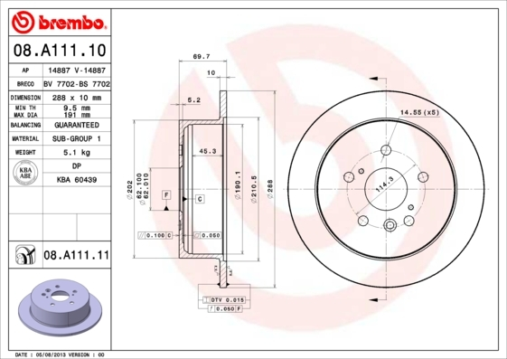 Диск тормозной Brembo 08A11110 комплект 2 шт08A11110