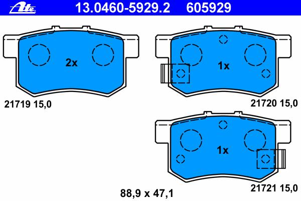 Колодки тормозные дисковые Ate 1304605929213046059292