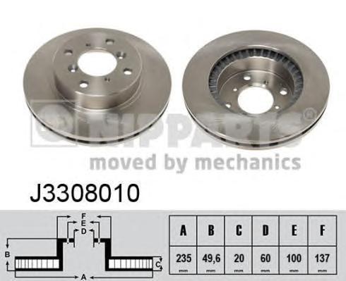 Диск тормозной передний вентилируемый Nipparts J3308010 комплект 2 штJ3308010