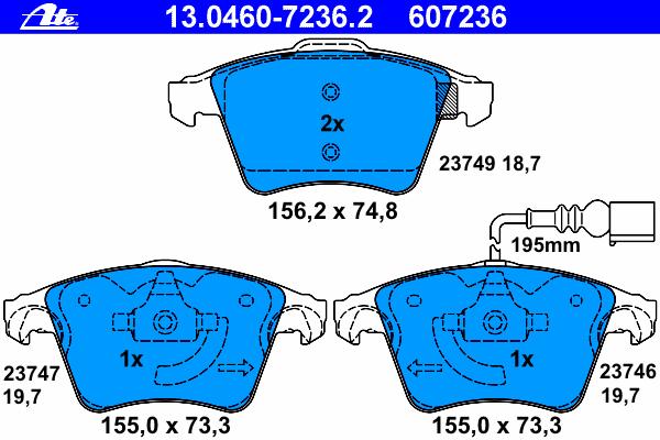 Колодки тормозные дисковые Ate 1304607236213046072362