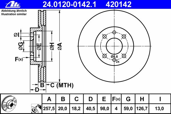 Диск тормозной Ate 24012001421 комплект 2 шт24012001421