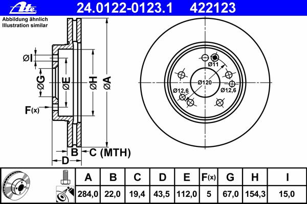 Диск тормозной Ate 24012201231 комплект 2 шт24012201231