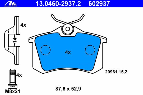 Колодки тормозные дисковые Ate 1304602937213046029372