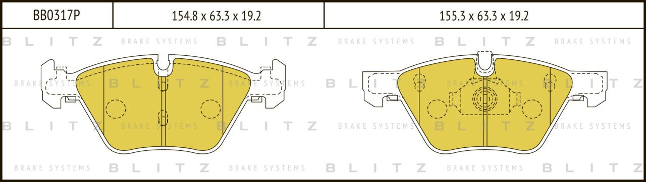 Колодки тормозные дисковые BLITZ автотовары BB0317PBB0317P