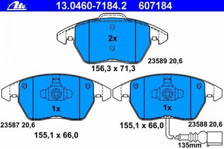 Колодки тормозные дисковые Ate 1304607184213046071842