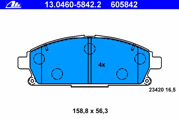 Колодки тормозные Ate 1304605842213046058422