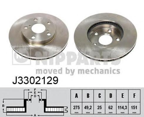Диск тормозной передний вентилируемый Nipparts J3302129 комплект 2 штJ3302129