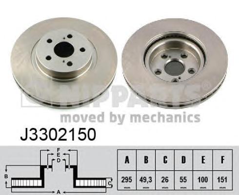 Диск тормозной передний вентилируемый Nipparts J3302150 комплект 2 штJ3302150