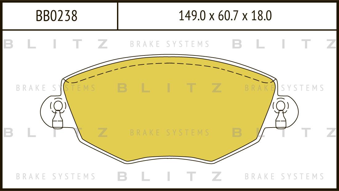 Колодки тормозные дисковые BLITZ автотовары BB0238BB0238