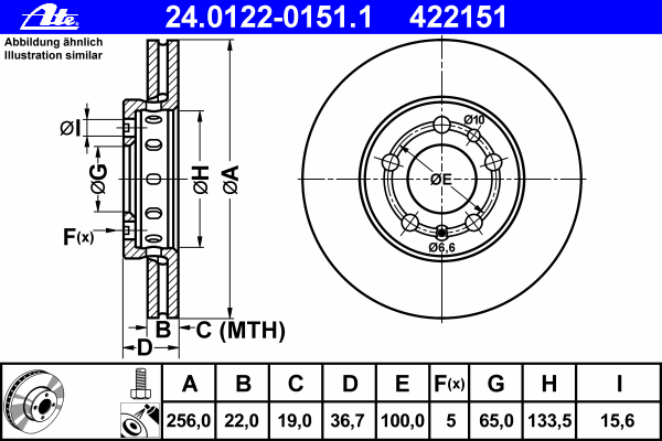 Диск тормозной Ate 24012201511 комплект 2 шт24012201511