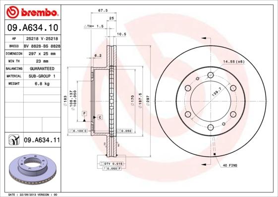 Диск тормозной передний вентилируемый Brembo 09A63410 комплект 2 шт09A63410