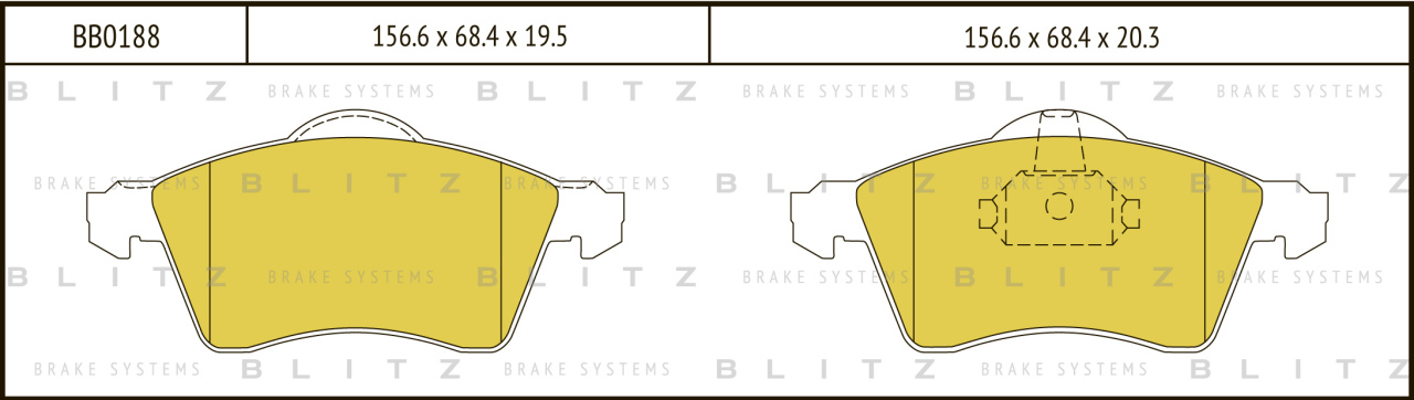Колодки тормозные дисковые BLITZ автотовары BB0188BB0188
