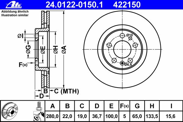 Диск тормозной Ate 24012201501 комплект 2 шт24012201501