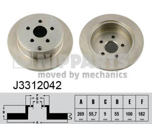 Диск тормозной задний Nipparts J3312042 комплект 2 штJ3312042