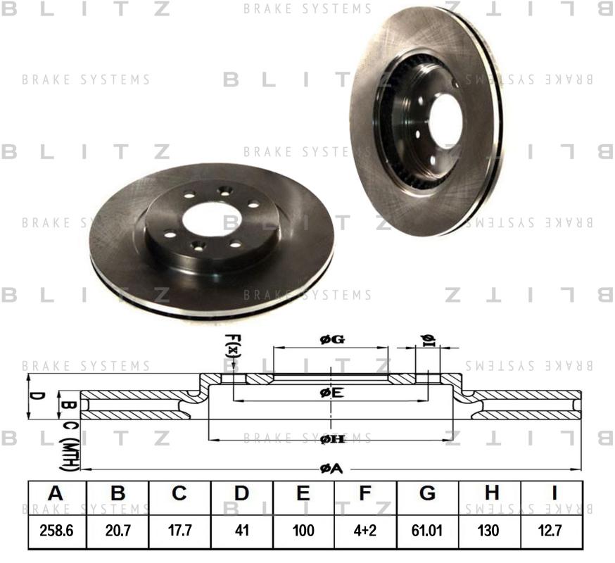 Диск тормозной BLITZ автотовары BS0105BS0105