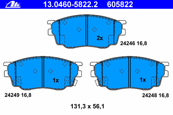 Колодки тормозные Ate 1304605822213046058222