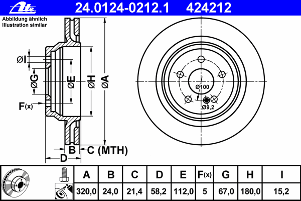 Диск тормозной Ate 2401240212124012402121