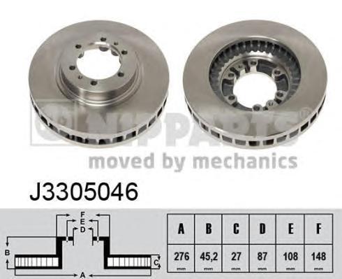 Диск тормозной передний вентилируемый Nipparts J3305046 комплект 2 штJ3305046