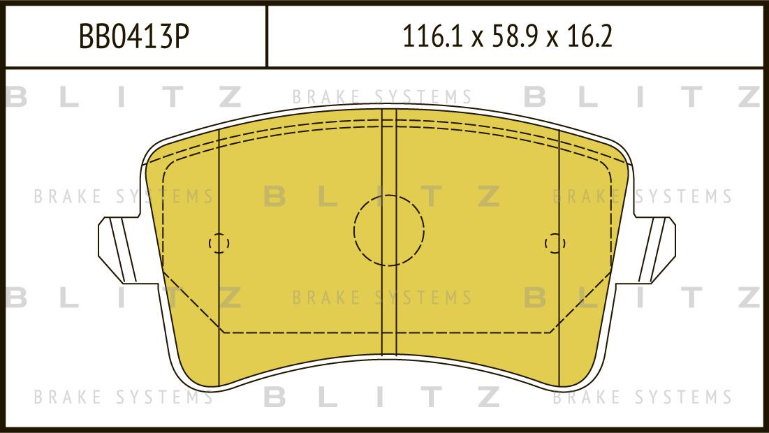 Колодки тормозные дисковые BLITZ автотовары BB0413PBB0413P